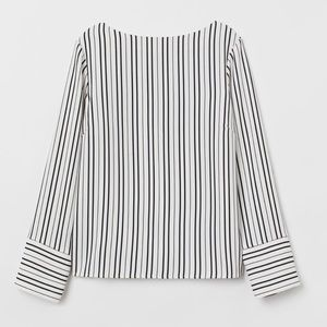 White and black stripped long sleeve blouse